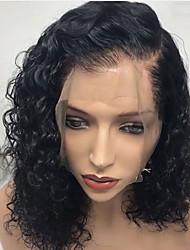 Недорогие -человеческие волосы Remy Лента спереди Парик Стрижка боб Rihanna стиль Бразильские волосы Кудрявый Глубокий курчавый Черный Парик 130% Плотность волос / Природные волосы / Необработанные