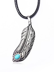 cheap -Men's Blue Turquoise Pendant Necklace Vintage Necklace Retro Engraved Feather Vintage Native American Cord Alloy Black 99 cm Necklace Jewelry 1pc For Daily Street