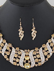 cheap -Women's White Cubic Zirconia Drop Earrings Necklace Tennis Chain Leaf Luxury Unique Design Romantic Imitation Diamond Earrings Jewelry Black / White / Gold For Wedding Party 1 set