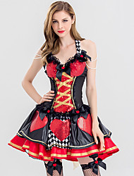 cheap -Queen of Hearts Cosplay Costume Adults' Women's Dresses Christmas Halloween Carnival Festival / Holiday Lace Polyster Red Female Carnival Costumes Love