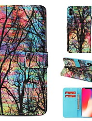 cheap -Case For Apple iPhone XS Wallet / Card Holder / Flip Full Body Cases Tree Hard PU Leather