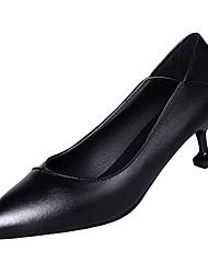cheap -Women's Heels Kitten Heel Pointed Toe PU Minimalism Winter Black / Pink / Beige / Daily