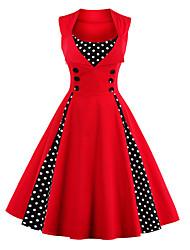 cheap -Audrey Hepburn Polka Dots Retro Vintage 1950s Summer Dress Women's Costume Red black / Green / Fuschia Vintage Cosplay Homecoming Sleeveless Knee Length
