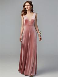cheap -Sheath / Column Illusion Neck Maxi / Floor Length Velvet Bridesmaid Dress with Draping / Open Back