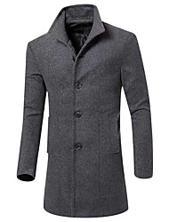 cheap -Men's Daily / Weekend Fall / Winter Long Coat, Solid Colored Peaked Lapel Long Sleeve Others Black / Wine / Army Green / Slim