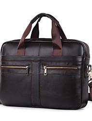 cheap -Men's Bags Nappa Leather Laptop Bag Briefcase Top Handle Bag Belt Zipper Solid Color Handbags Daily Office & Career Dark Brown