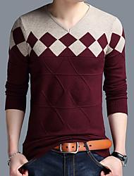 cheap -Men's Daily Basic Color Block Long Sleeve Plus Size Regular Pullover Sweater Jumper, V Neck Wine / Orange / Camel M / L / XL