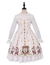 cheap -Princess Lolita Casual Lolita Dress Female Japanese Cosplay Costumes Ivory Bowknot Flare Sleeve Long Sleeve Knee Length