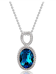 cheap -Women's Blue Crystal High End Crystal Pendant Necklace Classic Simulated Romantic Fashion Elegant Silver-Plated Imitation Diamond Austria Crystal Blue 45 cm Necklace Jewelry 1pc For Party / Evening