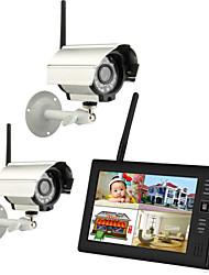 Недорогие -Беспроводные 4-канальные камеры видеонаблюдения Quad DVR 2 с 7-дюймовым TFT-LCD монитором Система домашней безопасности Pal NTSC Встроенный микрофон Система видеонаблюдения Pal 628 * 582 NTSC 510 * 49
