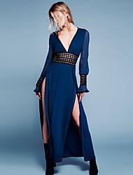 abordables -Déesse Inspiration Vintage Années 30 Robe Femme Dentelle Costume Bleu marine Vintage Cosplay Retour Manches Longues Long