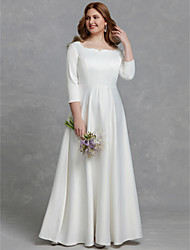 cheap -A-Line Square Neck Floor Length Satin 3/4 Length Sleeve Made-To-Measure Wedding Dresses with 2020
