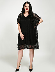 cheap -Women's Plus Size Black Dress Fall Party Loose Solid Colored Batwing Sleeve Lace L XL Loose / Cotton