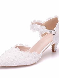 cheap -Women's Lace / PU(Polyurethane) Spring & Summer Sweet Wedding Shoes Low Heel Pointed Toe Imitation Pearl / Buckle White