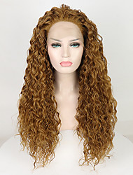 cheap -Synthetic Lace Front Wig Curly Free Part Lace Front Wig Blonde Long Golden Brown / Ash Blonde Synthetic Hair 18-26 inch Women's Adjustable Lace Heat Resistant Blonde