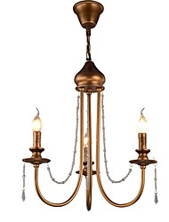 cheap -QINGMING® 3-Light 45 cm Crystal / Mini Style Chandelier Metal Mini Painted Finishes Retro / Country 110-120V / 220-240V