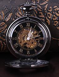 Недорогие -Муж. Часы со скелетом Карманные часы Японский Механические, с ручным заводом Римская цифра Черный Повседневные часы Cool Аналоговый Винтаж На каждый день Steampunk - Черный