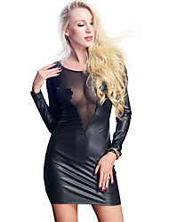 cheap -Exotic Dancewear Dress Split Joint Women's Training Performance Long Sleeve PU Mesh