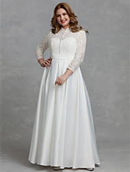 cheap -A-Line High Neck Floor Length Lace Long Sleeve Made-To-Measure Wedding Dresses with Buttons / Lace 2020