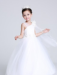 cheap -Princess Cosplay Costume Flower Girl Dress Kid's Girls' A-Line Slip Halloween Christmas Halloween Carnival Festival / Holiday Tulle Cotton White Carnival Costumes Princess