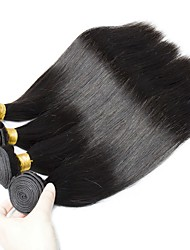 cheap -4 Bundles Straight Virgin Human Hair Remy Human Hair Natural Color Hair Weaves / Hair Bulk Bundle Hair One Pack Solution 8-28 inch Natural Color Human Hair Weaves Soft Classic Easy dressing Human