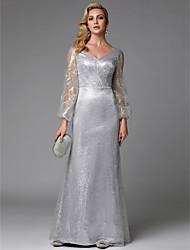 cheap -Sheath / Column Elegant Formal Evening Dress V Neck Long Sleeve Floor Length Sequined with Sequin 2020