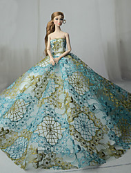 cheap -Doll Dress Party / Evening For Barbiedoll Lace Blue Tulle Lace Cotton Blend Dress For Girl's Doll Toy