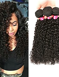 cheap -3 Bundles Peruvian Hair Curly Kinky Curly Unprocessed Human Hair 100% Remy Hair Weave Bundles Headpiece Natural Color Hair Weaves / Hair Bulk Hair Care 8-28 inch Natural Color Human Hair Weaves