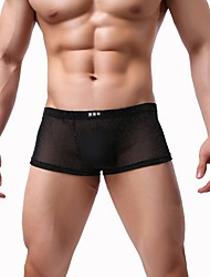 cheap -Men's Mesh Sexy Boxers Underwear / Briefs Underwear / Boxer Briefs - Normal, Galaxy Low Waist Black White Purple M L XL / Club