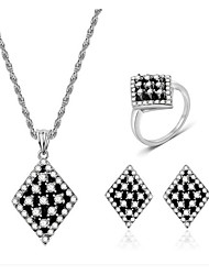 cheap -Women's White Cubic Zirconia Bridal Jewelry Sets Classic Ladies Fashion Earrings Jewelry Light Black For Party Daily 1 set