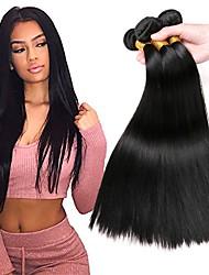 cheap -4 Bundles Brazilian Hair Straight Remy Human Hair Natural Color Hair Weaves / Hair Bulk Bundle Hair One Pack Solution 8-28 inch Natural Color Human Hair Weaves Soft Easy dressing Thick Human Hair