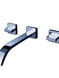 cheap -Bathroom Sink Faucet - Waterfall Chrome Wall Mounted Three Holes / Two Handles Three HolesBath Taps