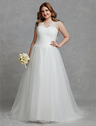 cheap -A-Line V Neck Court Train Tulle Sleeveless Made-To-Measure Wedding Dresses with Ruched 2020