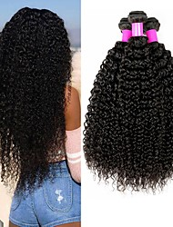 cheap -4 Bundles Brazilian Hair Curly Kinky Curly Remy Human Hair 400 g Headpiece Natural Color Hair Weaves / Hair Bulk Bundle Hair 8-28 inch Natural Color Human Hair Weaves Valentine Silky Best Quality