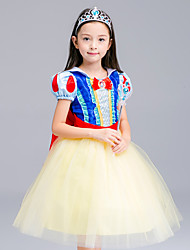 cheap -Princess Cosplay Costume Flower Girl Dress Kid's Girls' A-Line Slip Dresses Mesh Christmas Halloween Carnival Festival / Holiday Tulle Cotton Yellow Carnival Costumes Lace