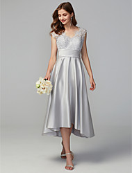 cheap -A-Line V Neck Asymmetrical Lace / Satin Bridesmaid Dress with Lace