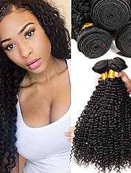cheap -4 Bundles Brazilian Hair Kinky Curly Human Hair Unprocessed Human Hair Headpiece Natural Color Hair Weaves / Hair Bulk Hair Care 8-28 inch Black Natural Color Human Hair Weaves Soft Classic Thick