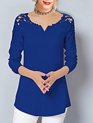 cheap -Women's Daily Basic Plus Size Lace Blouse - Solid Colored Lace V Neck Black