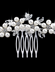 cheap -Women's Fashion Imitation Pearl Rhinestone Alloy Hair Combs Wedding Party - Floral / Leaf