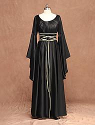 cheap -Witch Medieval Renaissance Dress Women's Costume Black Vintage Cosplay Long Sleeve Floor Length / Belt / Belt