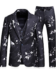 cheap -Men's Daily Business Plus Size Regular Suits, Geometric Shirt Collar Long Sleeve Polyester Navy Blue / Business Casual / Slim