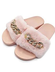 cheap -Women's Slippers & Flip-Flops Flat Heel Open Toe Faux Fur / PVC(Polyvinyl chloride) Fall & Winter Gray / Pink / Khaki