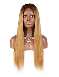 cheap -Virgin Human Hair Remy Human Hair Full Lace Wig Middle Part Side Part With Ponytail Wendy style Brazilian Hair Natural Straight Silky Straight Light Brown Wig 130% Density Soft Natural Hairline
