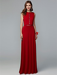 cheap -Sheath / Column Jewel Neck Floor Length Lace / Knit Bridesmaid Dress with Lace