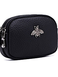 cheap -Women's Bags PU Leather Cowhide Coin Purse Zipper Solid Color Animal Daily Going out Black Red Dark Green Dark Blue