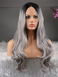 cheap -Remy Human Hair 360 Frontal Wig Asymmetrical Kardashian style Brazilian Hair Body Wave Dark Gray Wig 130% Density Natural Fashion Comfortable 100% Virgin Women's Long Human Hair Lace Wig Luckysnow