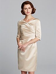 cheap -Sheath / Column Mother of the Bride Dress V Neck Knee Length Satin Half Sleeve with Ruching 2020