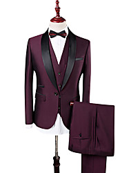 cheap -Men's Daily / Work Fall / Winter Plus Size Regular Suits, Solid Colored Notch Lapel Long Sleeve Polyester Patchwork Navy Blue / Wine / Business Formal / Slim