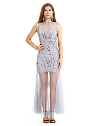 cheap -The Great Gatsby Charleston Retro Vintage 1920s Flapper Dress Dress Women's Sequin Costume Black / Pink / Gray Vintage Cosplay Event / Party Homecoming Prom Sleeveless Ankle Length Long Length