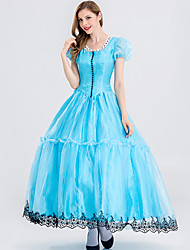 cheap -Alice in Wonderland Cosplay Costume Adults' Women's Dresses Vacation Dress Christmas Halloween Carnival Festival / Holiday Velour Cotton Blue Women's Easy Carnival Costumes Princess